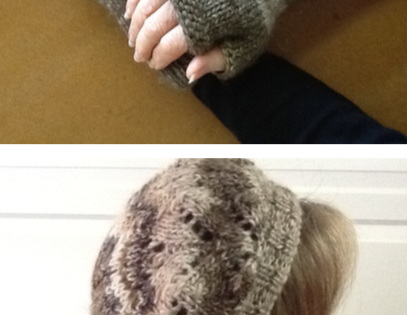 Free Pattern for Fingerless Gloves and Beret