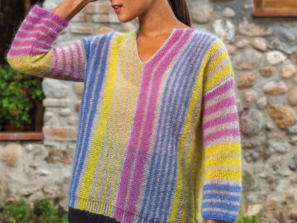 Free Pattern – Vertical Striped Sweater in Katia 50 Mohair Shades